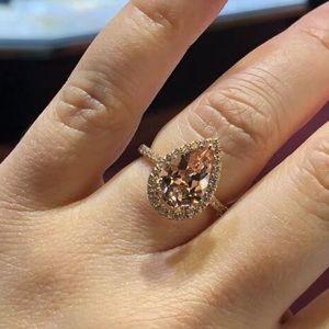 New Teardrop morganite rose gold ring